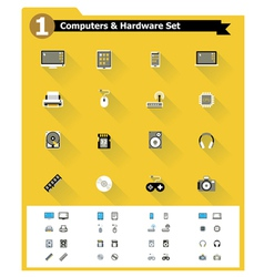 Flat computer hardware icon set vector image vector image