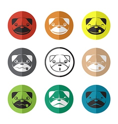 group of dog face in the circle vector image vector image