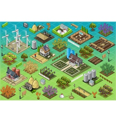 Isometric Farm Set Tiles vector image