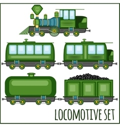 set of vintage locomotives vector image vector image