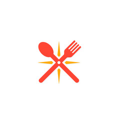 spoon and fork star logo vector image