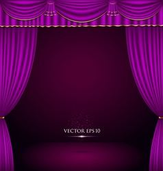 Violet and gold theater curtain classic vector image