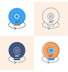 360 degree camera icon set in flat and line style vector image