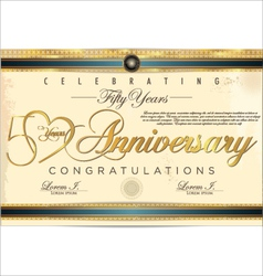 50 years anniversary diploma vector