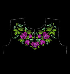 a pattern for embroidery neck clothing vector image