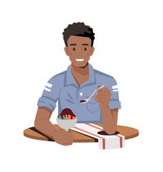 Afro-american guy eating ice-cream isolated man vector