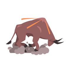 Angry bull in attacking pose spanish corrida vector