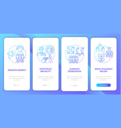 Anti-racism commitment onboarding mobile app page vector