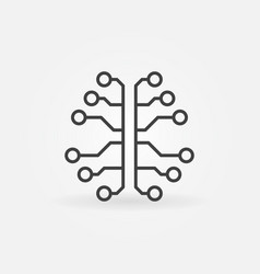 Artificial intelligence brain line icon vector