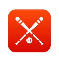 baseball bat and ball icon digital red vector image