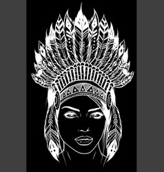beautiful girl in a headdress north american vector image