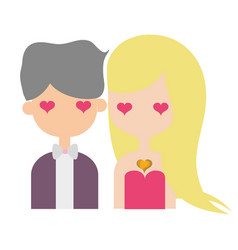 Beauty couple together with hearts eyes vector