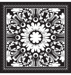 black and white bandana print design with borders vector image