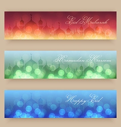 Blurred background with mosques and lights vector image