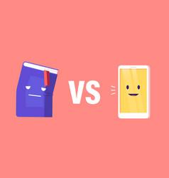 Book vs e-book concept innovative technologies vector