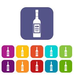 Bottle of vodka icons set vector