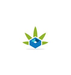 box square green leaf organic logo vector image