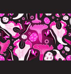 bright unusual seamless pattern pink mushrooms vector image