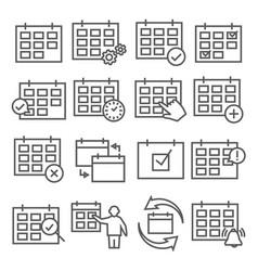calendar line icons set on white background vector image