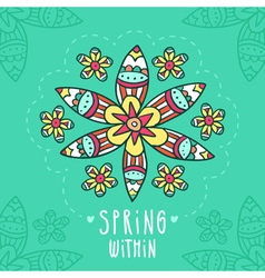 Card background with hand drawn flower in ethnic vector image
