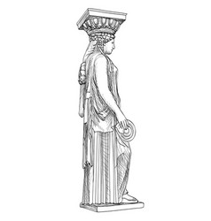 Caryatides statue pantheon famous column athens vector