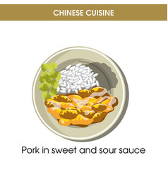 chinese cuisine pork meat traditional dish food vector image
