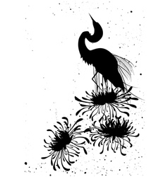 chrysanthemum and heron vector image