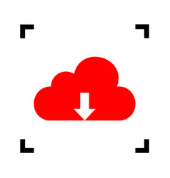 cloud technology sign red icon inside vector image