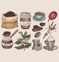 collection vintage coffee party icons hand vector image