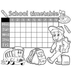 Coloring book school timetable 1 vector