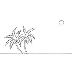 continuous line drawing palm trees with coconut vector image