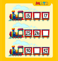 Counting numbers on train worksheet template vector