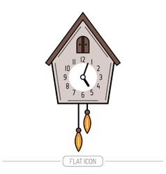 Cuckoo clock Color flat icon isolated on a white vector image