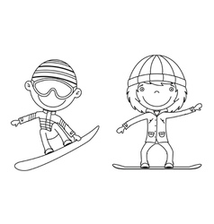 cute cheerful kids flying on a snowboard vector image