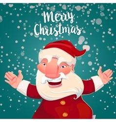 Cute Santa on green snow backdrop vector