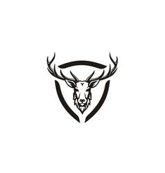 deer stag buck reindeer antler head hunt logo vector image