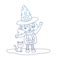 Degraded outline pumpkin girl costume wearing hat vector