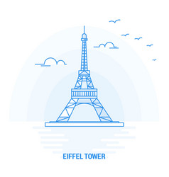 eiffel tower blue landmark creative background vector image