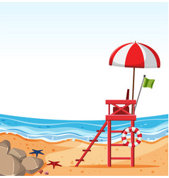 Empty beach with lifeguard chair vector