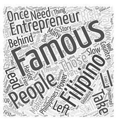 Famous filipino entrepreneur Word Cloud Concept vector