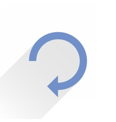 Flat blue arrow icon reset sign on white vector