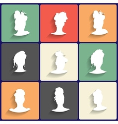 Flat Icons Set of Female Silhouettes vector image