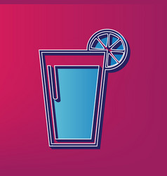 glass of juice icons blue 3d printed icon vector image