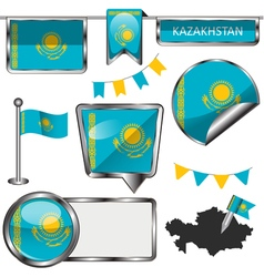 Glossy icons with Kazakhstani flag vector image