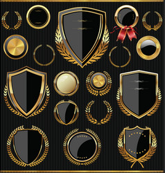 Gold and black shields labels and laurels vector