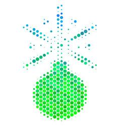 Halftone blue-green fireworks detonator icon vector