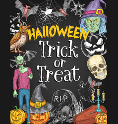 Halloween holiday trick treat sketch poster vector