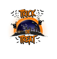Halloween pattern trick or treat and bowling ball vector