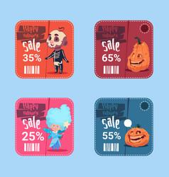 Halloween sale posters set holiday seasonal vector