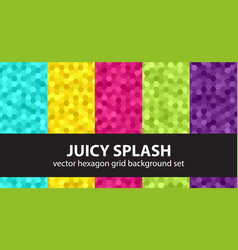 Hexagon pattern set juicy splash seamless vector